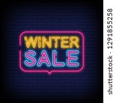 winter sale neon text vector... | Shutterstock .eps vector #1291855258