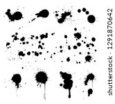 set of paint splatters.black... | Shutterstock .eps vector #1291870642