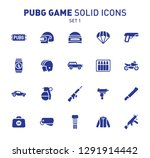 Pubg Game Glyph Icons. Vector...