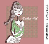fashion girl with book and...   Shutterstock .eps vector #129191618