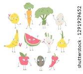 vector funny fruits set | Shutterstock .eps vector #1291929652