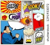 illustration of comic book page ... | Shutterstock . vector #1291933072
