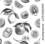 seamless pattern with lemons ... | Shutterstock .eps vector #1291940395
