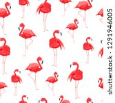 flamingo and stripes seamless... | Shutterstock .eps vector #1291946005