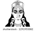 doodle line drawing of indian... | Shutterstock .eps vector #1291953382
