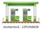 green gas station on a white... | Shutterstock .eps vector #1291968628