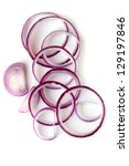 red onion rings  isolated on... | Shutterstock . vector #129197846