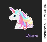 colorful unicorn with rainbow... | Shutterstock .eps vector #1291981402