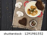 diet cream soup with potatoes... | Shutterstock . vector #1291981552