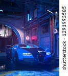 true cyberpunk scene. neon... | Shutterstock . vector #1291993585