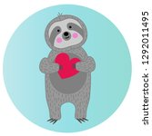 cute sloth holding red heart | Shutterstock .eps vector #1292011495