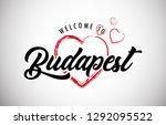 budapest welcome to word text... | Shutterstock .eps vector #1292095522