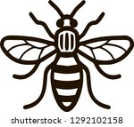 Stock vector bee as black and white icon can be used as a logo of manchester city 1292102158