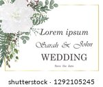 wedding invitation with rose... | Shutterstock .eps vector #1292105245