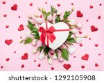 Stock photo valentine s day love background gifts in the form of hearts on a pink background with the 1292105908