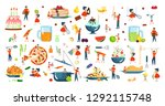 happy family cooking together a ... | Shutterstock .eps vector #1292115748