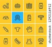 Stock photo illustration of animal icons line style editable set of transport box syringe pet award and 1292116912