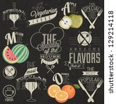 retro vintage style restaurant... | Shutterstock .eps vector #129214118