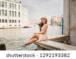 young beautiful girl in white... | Shutterstock . vector #1292193382