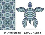 Decorative Doodle Turtle With...