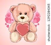 valentine day love teddy bear... | Shutterstock .eps vector #1292284345