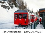 Red Train In A French Alps....