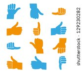 set of thumbs up and down  ... | Shutterstock .eps vector #129230282