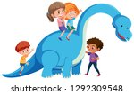 children riding on dinosaur... | Shutterstock .eps vector #1292309548