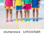 kids beach shoes. colorful...   Shutterstock . vector #1292325685