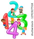 kids playing with big number... | Shutterstock . vector #1292327518