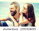 young beautiful happy couple in ...   Shutterstock . vector #1292328055