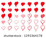 vector hearts set. hand drawn.... | Shutterstock .eps vector #1292364178