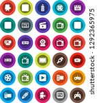 white solid icon set  cinema... | Shutterstock .eps vector #1292365975
