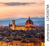 Cathedral of Santa Maria del Fiore (Duomo) at dusk, Florence, Italy - stock photo