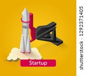 rocket launch isometric icon   Shutterstock .eps vector #1292371405