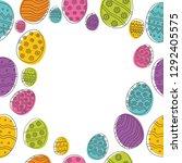 easter eggs composition hand... | Shutterstock .eps vector #1292405575