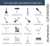 16 broom icons. trendy broom... | Shutterstock .eps vector #1292460382