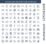 100 architecture icons. trendy... | Shutterstock .eps vector #1292461648