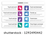 set of 8 white hands icons such ... | Shutterstock .eps vector #1292490442