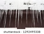 beautiful icicles hanging from...   Shutterstock . vector #1292495338