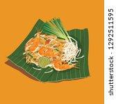 thai food  pad thai  | Shutterstock .eps vector #1292511595