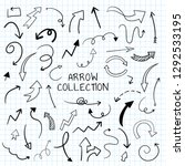 hand drawn doodle arrows vector ... | Shutterstock .eps vector #1292533195