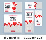 paper hearts decorated poster... | Shutterstock .eps vector #1292554135