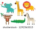 cute baby animals  vector set | Shutterstock .eps vector #1292563315