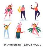 brazilian carnival band... | Shutterstock .eps vector #1292579272