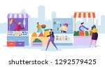fresh food market stand.... | Shutterstock .eps vector #1292579425