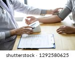 doctor using a measuring blood...   Shutterstock . vector #1292580625