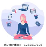 business yoga concept. office... | Shutterstock .eps vector #1292617108