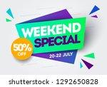vector illustration weekend... | Shutterstock .eps vector #1292650828