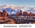 Turret Arch With Snow Mountain...